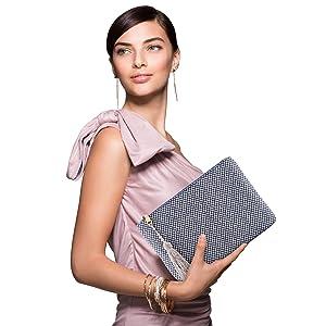 Otto Angelino Designer Women's Bohemian Clutch Purse - Multiple Slots Money, Cards, Smartphone