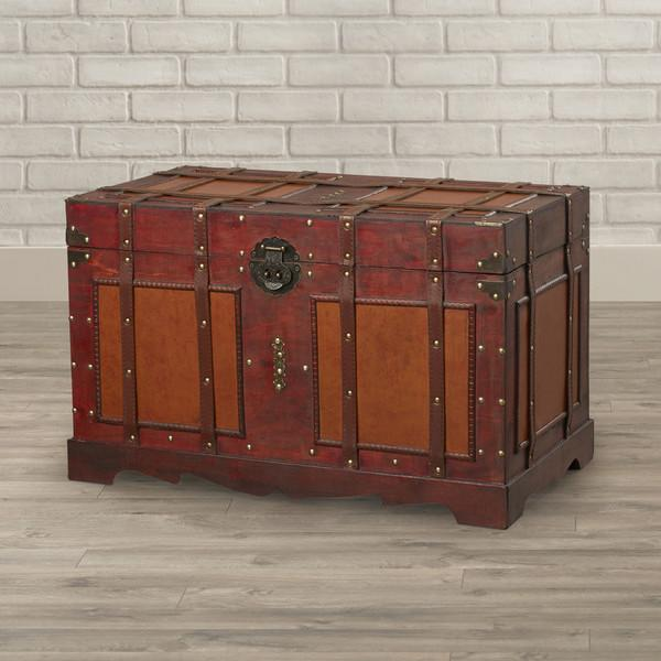 Nice Large Antique Old Fashioned Blue Cabin Trunk Boxes/chests