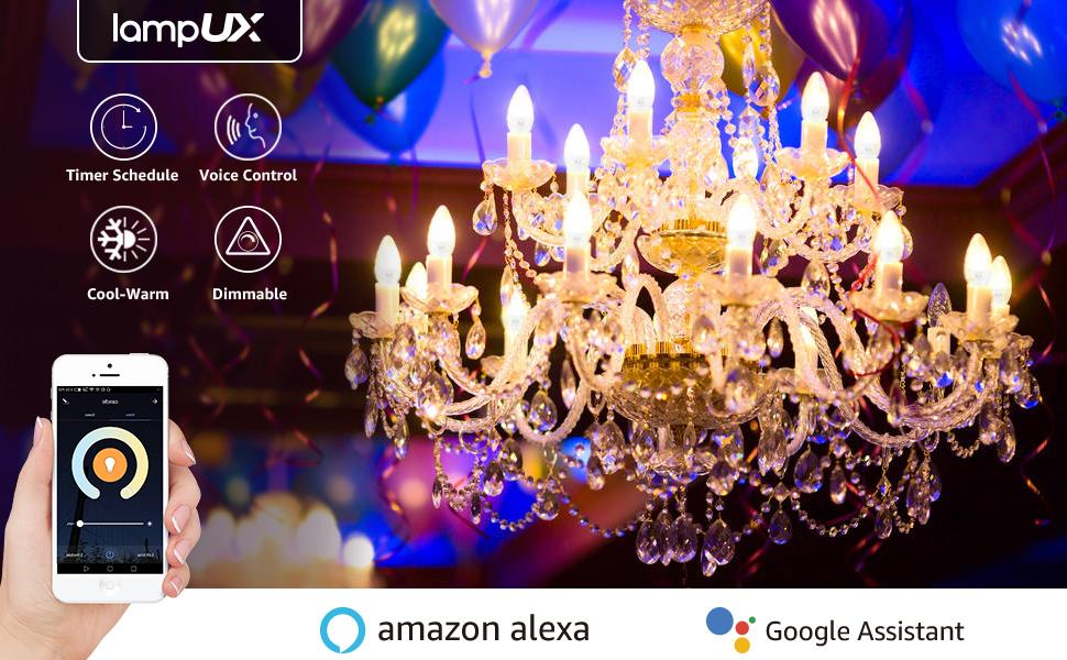 Bombilla WiFi E14, Bombilla Inteligente funciona con Alexa y Google Home