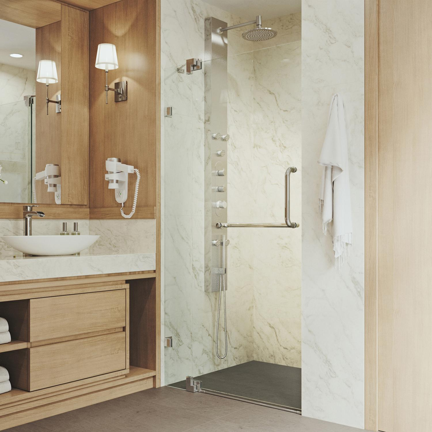 Vigo Pirouette 36 To 42 In Frameless Shower Door With 375 In