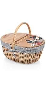 picnic basket, wicker picnic basket, picnic basket for 2, picnic basket with lid, disney gifts