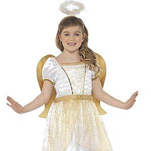 Smiffys-99340L Disfraz de ángel, con Vestido, cinturón y halo, Color Blanco, L-Edad 10-12 años (99340L)