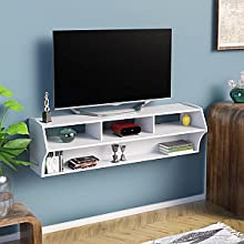 "Prepac WCAW-0208-1 Altus Plus 58"" Floating TV Stand, White"
