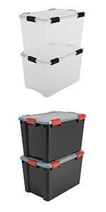 Boîtes de rangement en plastique hermétique Air Tight Box par Iris Ohyama