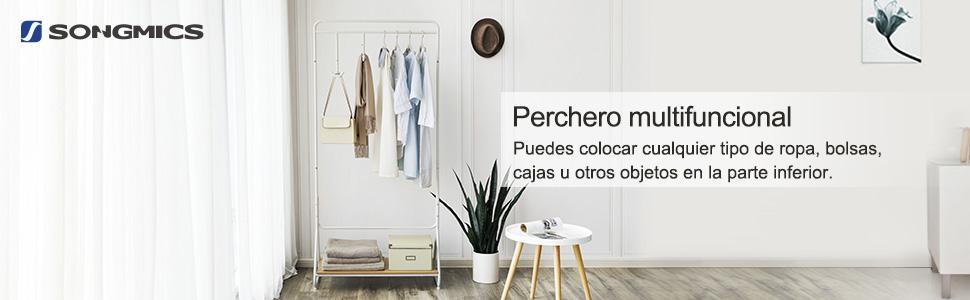 SONGMICS Perchero con Barra Colgante, Perchero con Estante ...