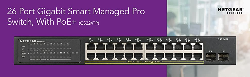 26 port gigabit smart managed pro switch with poe+ GS324TP