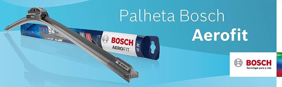 Fundo azul com a Palheta Bosch Aerofit em destaque