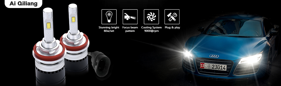 Ai Qiliang H8//H9//H11 LED headlights Dual color High//Low beam bulbs fog lamp for car 2 Color Temperature 3300K warm yellow and 6000K white light Waterproof IP68 3 years warranty 2 pack