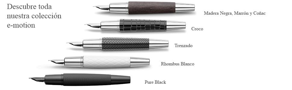 Faber Castell 148220 con cuerpo en madera de peral Pluma estilogr/áfica E-motion color negro trazo M