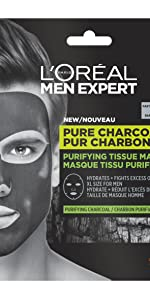 L'Oréal Men Expert, Pure Charcoal, Tissue Mask, Purifying Charcoal
