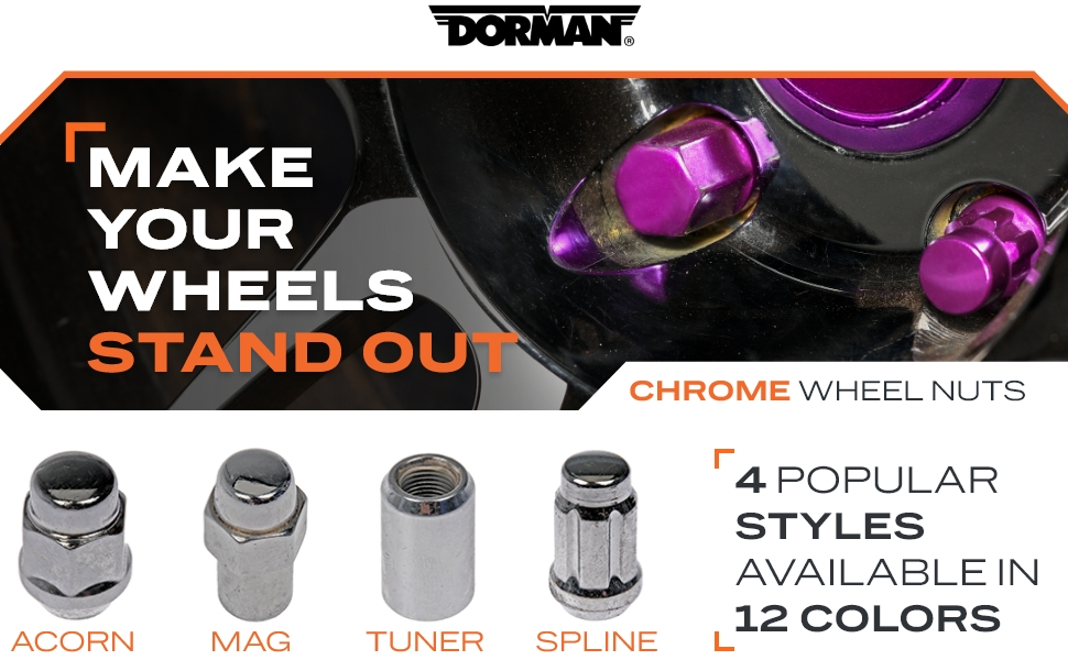 Chrome Wheel Nuts, 4 Popular Styles, 12 Available Colors