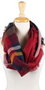 plaid;plaid scarf;gingham scarf;winter scarf;infinity scarf;blanket scarf;fringe scarf;tartan scarf