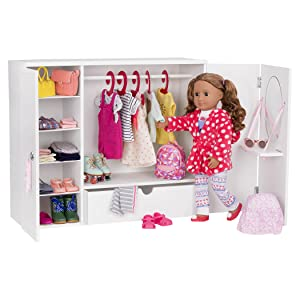 Our Generation Bd37398 Wooden Wardrobe Doll Accessories Various