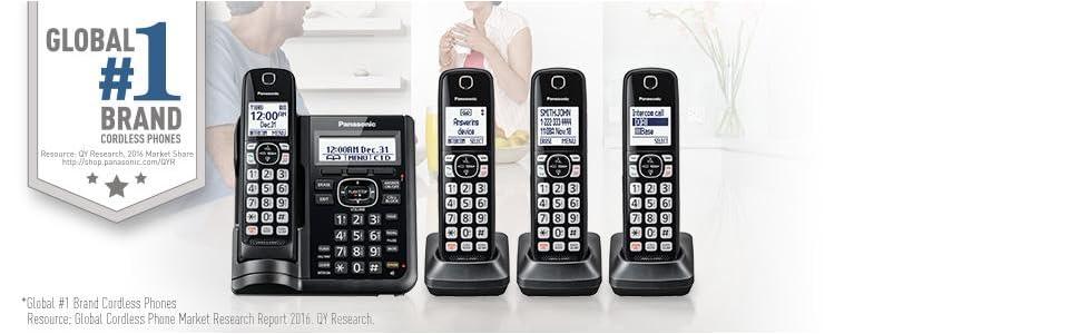 Panasonic KX-TGF544B Expandable Cordless Phone with Answering Machine - 4 Handsets
