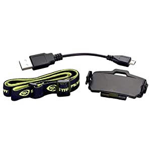Streamlight Bandit Headlamp Accessories: USB Cord, Head strap, and hat clip.