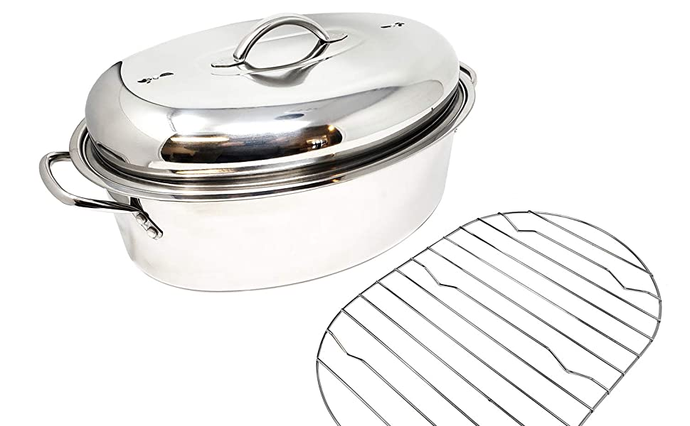 Stainless Steel Roasting Pan with Lid and Rack