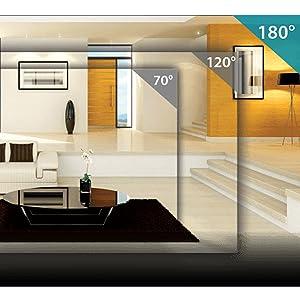 La cámara tiene una lente de 180 ° para ver habitaciones grandes en alta definición 1080p