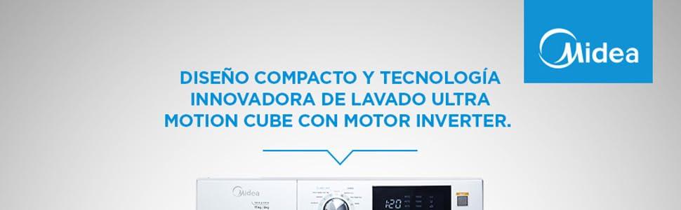 Diseño compacto y tecnología innovadora de lavado Ultra Motion Cube con motor inverter.