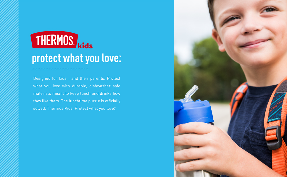 Thermos: protect what you love, travel straw drink bottle container