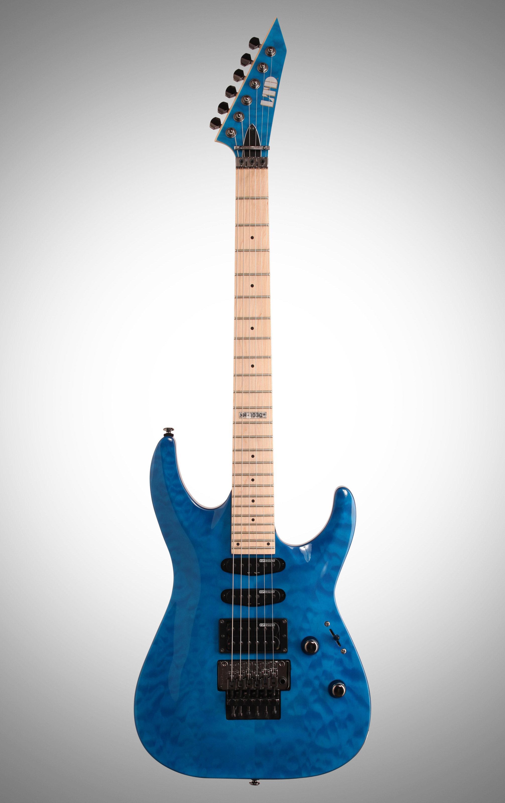 esp ltd mh 103qm electric guitar see thru blue