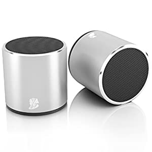 mini portable speakers  [2 Pack] HeadSound H2 True Wireless Bluetooth Speakers, Latest Powerful Dual Twin Portable Mini Speaker Set w/Surround HD Sound, Instant Pairing with Built in Mic for HandsFree Calls for Home (Silver) d1dcc2ca 1c3c 4664 801e d1eebc43cbf5