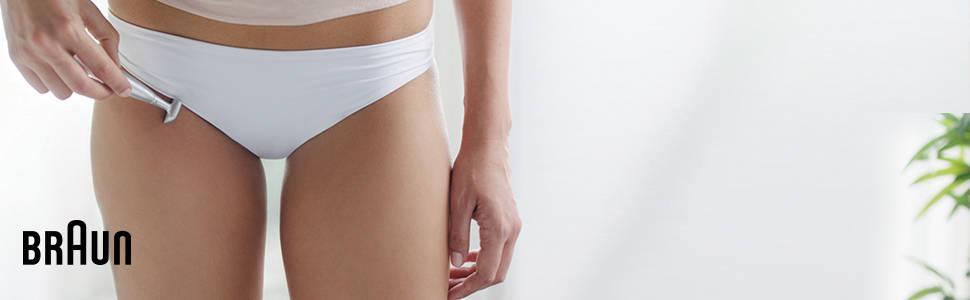 Braun Silk-épil Bikini Styler Elektrischer Intimrasierer FG1100, weiß
