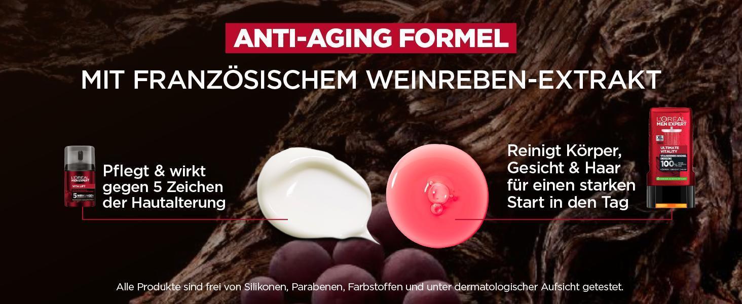 anti-aging formel, pflegt und kräftigt ohne zu fetten, reinigt körper, gesicht und haar