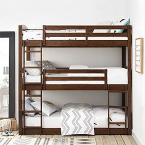 Amazon Com Dorel Living Sierra Triple Bunk Bed Mocha Kitchen Dining