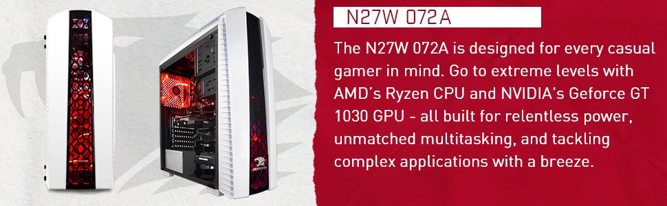 iBUYPOWER Enthusiast Gaming PC Computer Desktop N27W 072A (AMD Ryzen 3 1200  3 1 GHz, NVIDIA GeForce GT 1030 2GB, 240GB SSD, 8GB DDR4-2666 RAM, WiFi