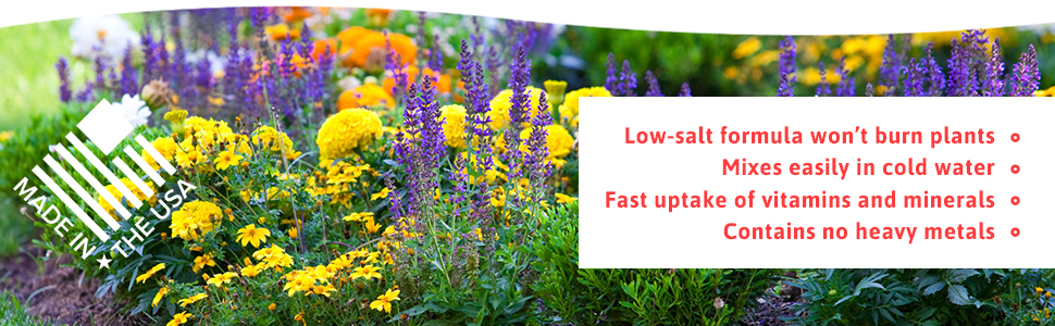 Won't burn plants, mixes easily, fast uptake of nutrients and contains no heavy metals
