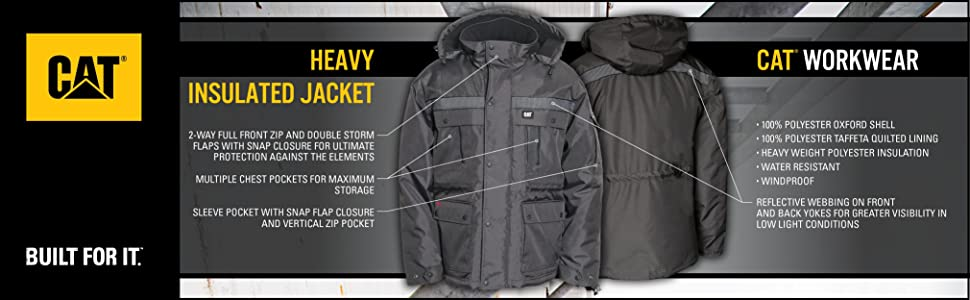 Cat, caterpillar, workwear, insulated, parka, windproof, water resistant, reflective