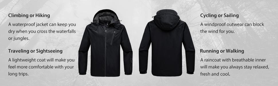 9c60593d1 Amazon.com: Wantdo Men's Lightweight Windproof Rain Jacket ...