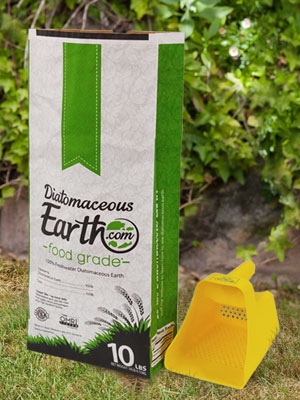 food grade diatomaceous earth and applicator in the garden