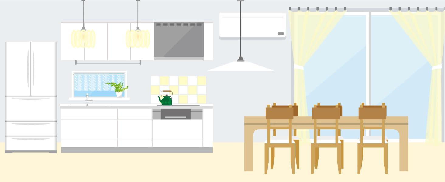 超ロングタイプの使用例:キッチンでいろいろなところをお掃除
