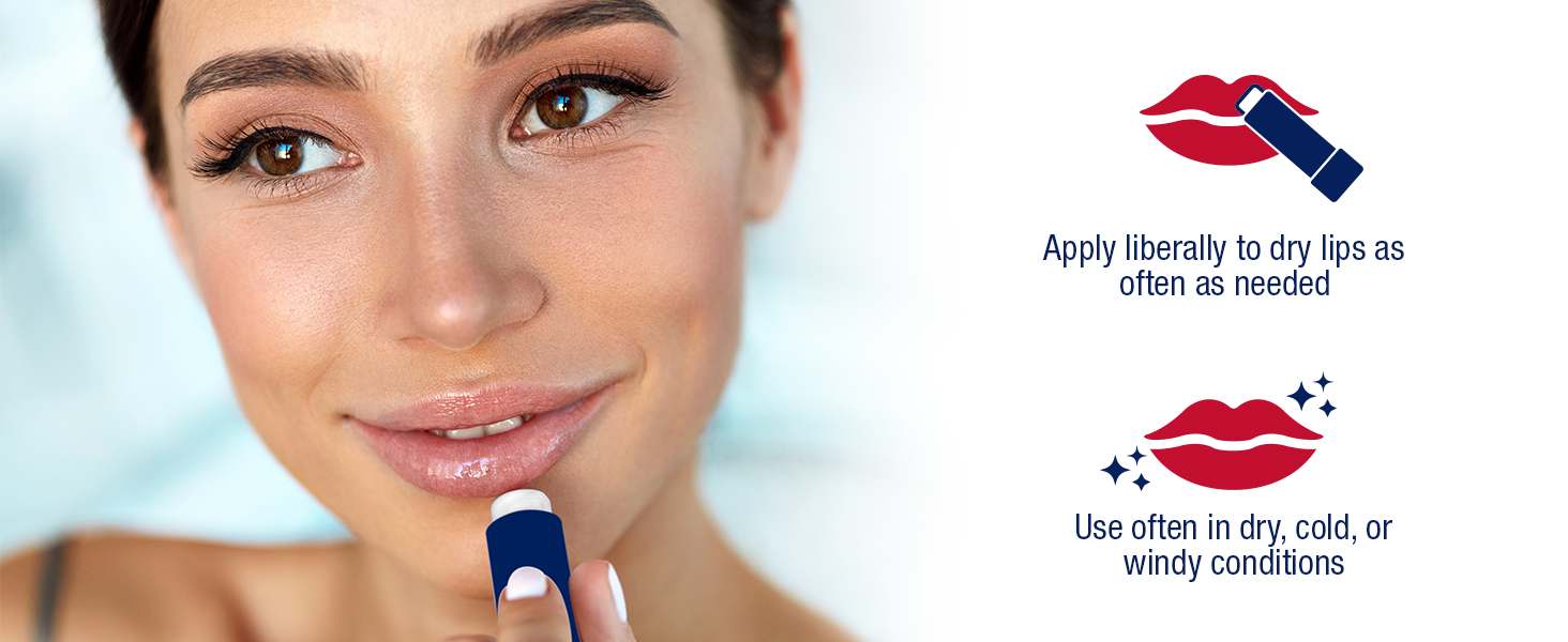 apply liberally to dry lips as often as needed, use often in dry, cold, windy conditions