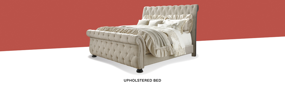 upholstered sleigh bed collection tufting white vintage glam deluxe bed frame twin full queen king