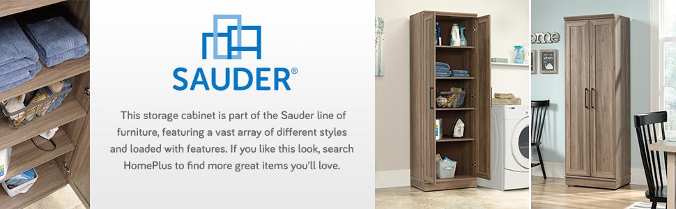 Sauder HomePlus Storage Cabinet in a Salt Oak finish