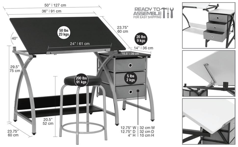 Comet Center, Drawing Desk, Craft Desk, Storage, Stool, Tilting Top