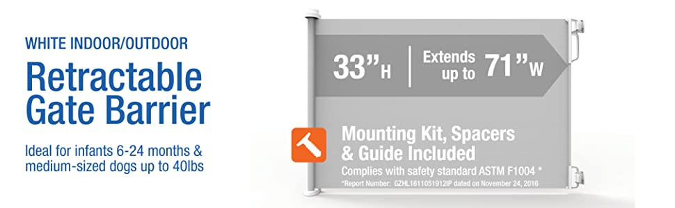 """White indoor/outdoor Retractable Gate Barrier 33"""" Tall, Extends up to 71"""" Wide"""