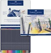 Faber-Castell 114648 - Estuche de metal con 48 ecolápices acuarelables hexagonales Goldfaber Aqua, colores surtidos: Amazon.es: Oficina y papelería