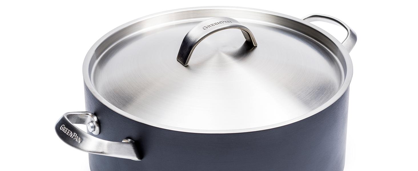 GreenPan, Paris Pro, Healthy Ceramic Non stick, stainless steel lid, cookware set, pot, casserole