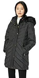 "Anne Klein 33"" Down Coat with Faux Fur Hood"