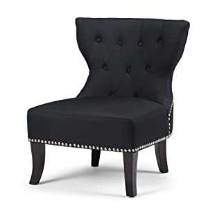Amazon.com: Simpli Home Kitchener Tufted Accent Chair, Charcoal Grey ...