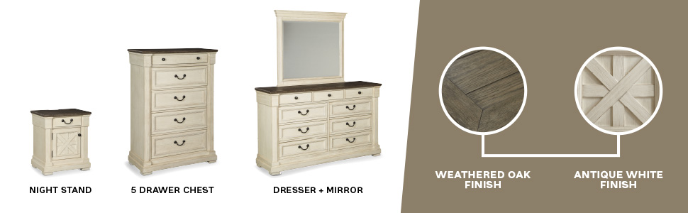 night stand nightstand 5 drawer chest of drawers dresser mirror weathered oak finish antique white