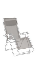 Grigio Rivestimento di ricambio tessuto Batyline con poggiatesta per sedia a sdraio Futura Lafuma LFM2676-8556