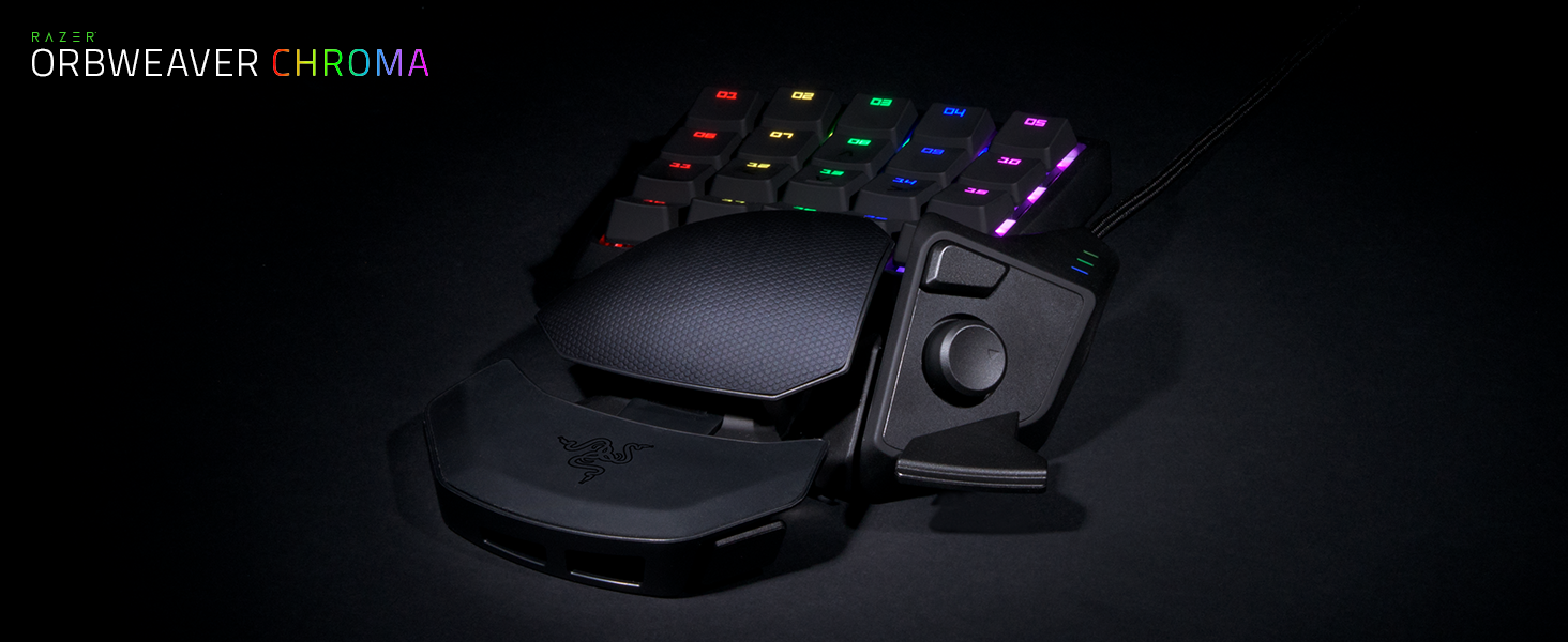 RAZER ORBWEAVER CHROMA: 30 Progammable Keys - Adjustable Hand, Thumb, and  Palm-Rest Modules - Razer Green Mechanical Switches (Tactile and Clicky) -