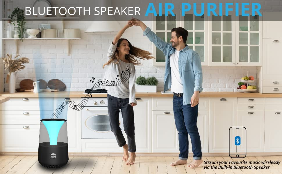 WBM bluetooth smart air purifier, bluetooth air purifier for viruses and bacteria, air purifier