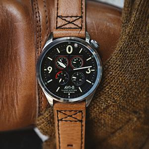 AVI-8 Mens Lancaster Bomber Quartz Stainless Steel and Leather Aviator Watch