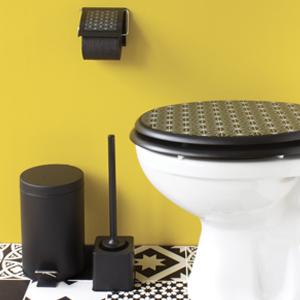 abattants WC Grid et accessoires noir Gelco Design