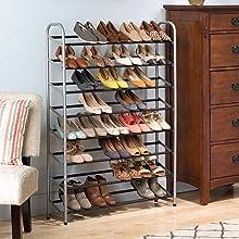 Whitmor Shoe Storage and Organization Rack Cart